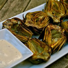 L is for: Lemon Garlic Aioli with Grilled Artichokes, a Tailgate Special