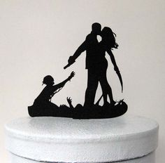 Halloween Wedding Cake Topper, Zombieland Silhouette Wedding Cake Topper by Kaishihui Custom Wedding Cake Toppers, Wedding Cake Decorations, Wedding Topper, Wedding Favors, Wedding Ideas, Wedding Stuff, Wedding Planning, Wedding Inspiration, Geek Wedding