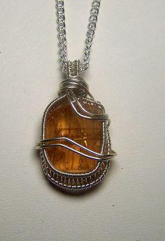 Orange Topaz crystal necklace pendant  Sterling by mandalarain, $40.00