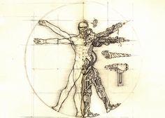 Collection of artwork about Warhammer Cyberpunk, Vitruvian Man Tattoo, Warhammer 40k Rpg, Famous Artwork, Futuristic Art, Ex Machina, Tattoos For Guys, Fantasy Art, Concept Art