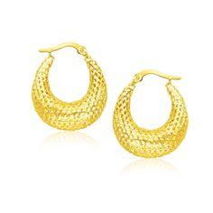 14K Yellow Gold Mesh Style Graduated Hoop Earrings