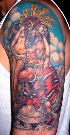 Color Ink Aztec Tattoo Design