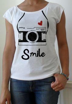 Hand stenciled heart camera smile print white t shirt. £16.00, via Etsy.