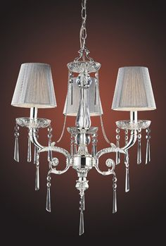 ELK Lighting Lighting 2395-3 Three Light Chandelier In Polished Silver And Iced Glass