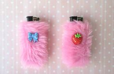Cute Girly Lighter Holders Covers, BFF Gift, Kawaii Furry Pink Bic Lighter Case Set, Pastel Goth, Harajuku, Best Friend, Faux Fur