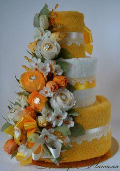 Gallery.ru / Торт из полотенец - Торты из полотенец - monier Pink Diaper Cakes, Unique Diaper Cakes, Nappy Cakes, Kitchen Towel Cakes, Wedding Towel Cakes, Spa Cake, Towel Origami, Valentine Baskets, Creative Money Gifts