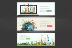 Travel Web Design Banners Set. Travel Infographics. $8.00