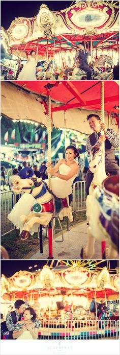 Merry go round! Fun engagement session at the Marin County Fair.