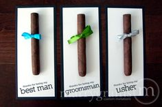 These cigar cards would make the perfect thank you gifts for groomsmen