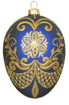 Edward Bar Pysanka Blue Egg Glass Christmas Ornament Handmade in Poland   eBay