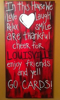 Louisville GO CARDS Family Canvas Hand Painted by loveitbymo, $35.00