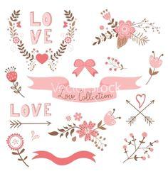 Elegant love collection vector - by Olillia on VectorStock®