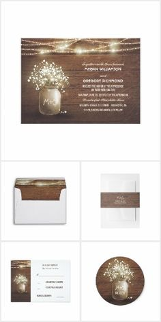 Mason Jar Baby's Breath Wedding Lights Collection Rustic barn wedding invitation features cute mason jar with baby's breath. Nice old barn wood background texture from the both sides. Perfect invitation for barn weddings or wedding in the ranch, lodge, farm