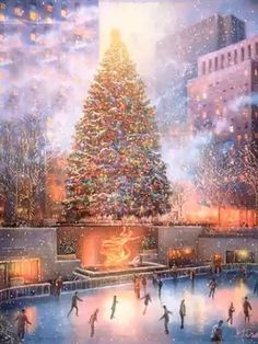 Diamond Painting - Christmas Skating - Floating Styles - Diamond Embroidery - Paint With Diamond - free worldwide shipping. We also offer tools like lighting pad, diamond painting kits including quick painting pens. Create Your Own Paint With Diamonds no Christmas Scenes, Noel Christmas, Christmas Images, Winter Christmas, Christmas Lights, Vintage Christmas, Animated Christmas Pictures, Animated Christmas Tree, Christmas Cards