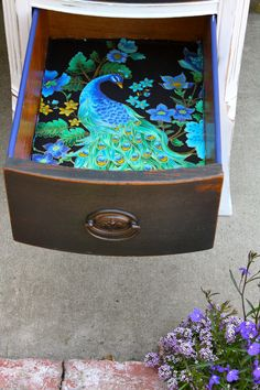 """""""MakeMePrettyAgain: Peacock Desk"""" I love the idea of a surprise in the drawer, whether it's a cool color of paint or something neat like this...which I'm guessing is fabric."""