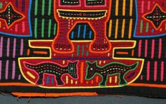 Panamanian Mola with a Figure in a Headdress