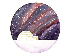 Original Watercolor painting Igloo under the stars by bluepalette