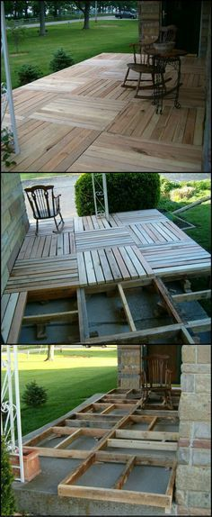 Wood Pallets Ideas Front Porch Wood Pallet Deck Project - One-day backyard project ideas are the perfect way to spruce up your home for summer. Find the best designs and transform your outdoor space! Backyard Projects, Diy Pallet Projects, Outdoor Projects, Home Projects, Backyard Ideas, Patio Ideas, Backyard Landscaping, Cheap Patio Floor Ideas, Pallet Landscaping Ideas