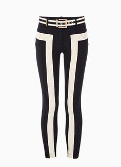 Zweifarbige Hose mit Gürtel von Elisabetta Franchi, um 330 Euro Striped Pants, Euro, Fashion, Scrappy Quilts, Fashion Styles, Lean Legs, Monochrome, Figurine, Guys