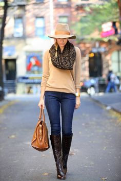 Knits, denim + lace up boots http://rstyle.me/n/ugkhn4ni6