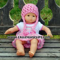 Bitty Baby Beanie or Preemie Beanie ~ Elisabeth Spivey - Calleigh's Clips & Crochet Creations Crochet Doll Clothes, Crochet Dolls, Hat Crochet, Free Crochet, Irish Crochet, Crotchet, Double Crochet, Bitty Baby Clothes, Girl Doll Clothes