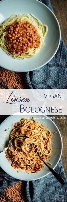 Pasta with Lentil Bolognese - Vegetarisch - Vegan Lentil Bolognese Vegan, Lentil Pasta, Bolognese Pasta, Bolognese Recipe, Vegan Vegetarian, Vegetarian Recipes, Healthy Recipes, Easy Recipes, Vegan Pasta