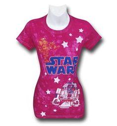 Star Wars Tie-Dye Pink Stars Women's T-Shirt
