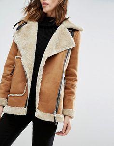 Vero Moda   Vero Moda - Manteau en peau de mouton retournée asymétrique  Blouson Aviateur Femme b1c428d374a5