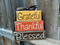 Thanksgiving wood stacker-Grateful, Thankful, Blessed wood thanksgiving blocks, fall, autumn