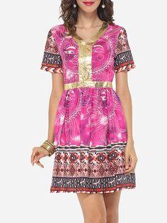 Printed Tribal Paillette Captivating V Neck Skater-dress #Dresses, #Fashion, #SkaterDresses, #Womens