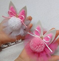 Bunny pompoms for easterBeBella Bowtique bows are the Making Hair Bows, Diy Hair Bows, Ribbon Hair, Ribbon Bows, Pom Pom Crafts, Felt Crafts, Easter Crafts, Diy And Crafts, Felt Flowers