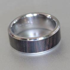 African black wood ring with polished bevelled edges
