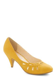 Lively in Loops Heel in Yellow, #ModCloth - so bright and happy, with a kitten heel and pretty loop cut-outs