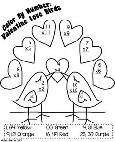 Valentine's Day Color By Number - Multiplication $