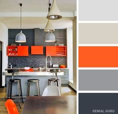 Kitchen Interior Design 20 perfect color combinations to brighten up your kitchen Kitchen Colour Combination, Kitchen Colour Schemes, Kitchen Colors, Color Schemes, Kitchen Ideas, Contemporary Interior Design, Interior Modern, Interior Design Kitchen, Grey Kitchens