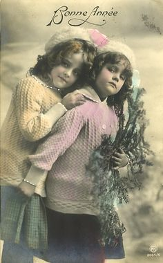 """Grete and Hanni Reinwald. One of the few where they aren't wearing """"costume"""" clothes, flowers in their hair etc. Hanni looks a little sulky as usual, that, and her lesser charisma are probably why she was used on fewer occasions. Antique Photos, Vintage Pictures, Vintage Photographs, Vintage Images, Old Photos, Vintage Country, Vintage Girls, Vintage Children, Russian Posters"""