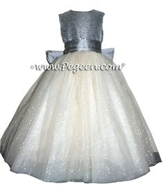 Silver Gray and Glitter Tulle #FLOWER GIRL DRESSES Metallic Sparkle top ~ Located 1 mile from Disney World, Selling online and shipping world wide. Call us for design help! 407-928-2377