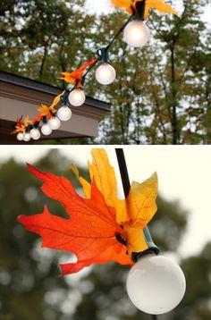 Autumn Leaf Lighting   Click Pic for 24 DIY Garden Lighting Ideas   DIY Outdoor Lighting Ideas