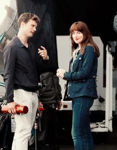 Fifty Shades of Grey movie bts Jamie Dornan and Dakota Johnson