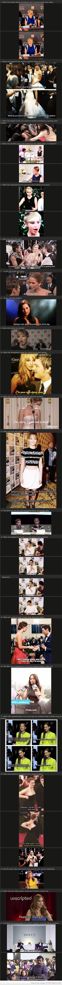 21 Times Jennifer Lawrence Totally Nailed The Whole Interview Thing. She is my hero :)