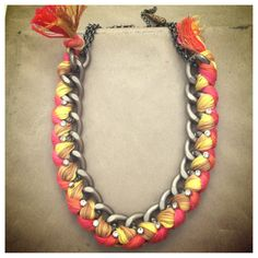 Braided ribbon necklace with Swarovski crystals  - in Sunset