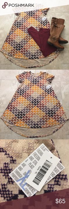 LuLaRoe Carly Fall Pattern Unicorn  Brand new with tags. Size XL. I was desperately in search of this beauty and bought a few different sizes to keep the one that fit best...happily passing on the ones that didn't work for me  LuLaRoe Dresses Asymmetrical