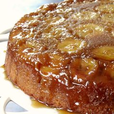 Banana Upside Down Cake Recipe Desserts with brown sugar, unsalted ...