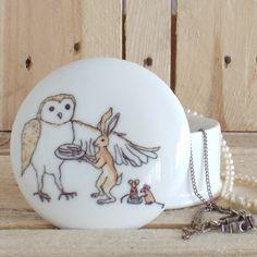Medium trinket box - Owl Hare Mice  £12.00