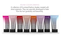KEUNE COLOR CRAVING | Eight fabulous colours, from soft pastels to vivid vibrants that gradually & beautifully fade. Color Craving is a professional salon treatment and can be touched up at home.