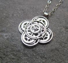 Mechanical Flower Necklace Athelas Elegant by amechanicalmind