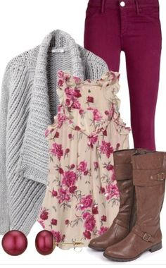 ~Fuschia skinny-jeans/grey, knit cardigan? brown, calf-high boots/ and floral tank~