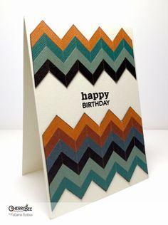 Hand made Chevron Birthday Card using pattern paper. By Katarina Budova @ cherry-bee.net