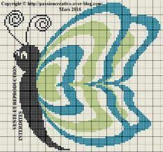 Grille gratuite point de croix : Papillon vert et bleu