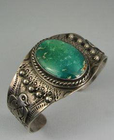 Vintage Navajo Turquoise Bracelet - Fred Harvey Era